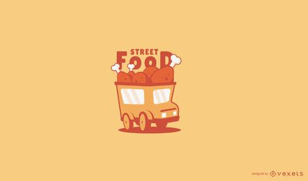 Chicken food truck logo template