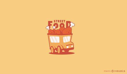 Plantilla de logotipo de camión de comida de pollo