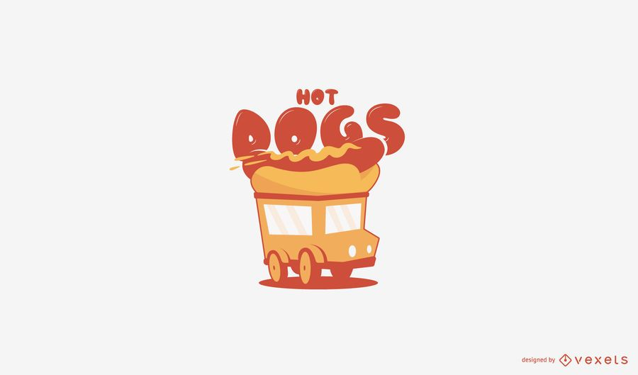 Hot dogs food truck logo template