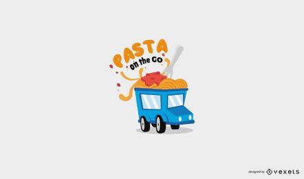 Plantilla de logotipo de camión de comida de pasta