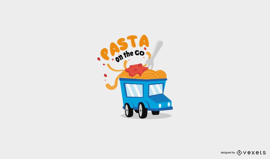 Pasta food truck logo template