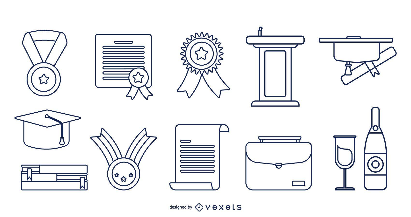 Conjunto de trazos de elementos de graduación