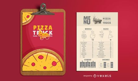 Pizza food truck menu template