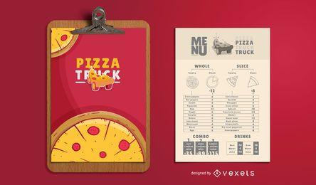 Plantilla de menú de camión de comida de pizza