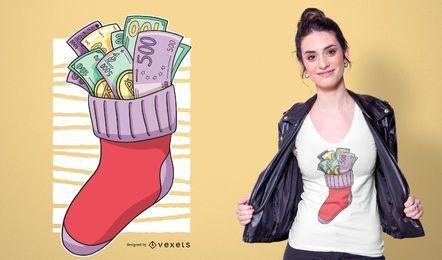 Design de camisetas com meias de Natal para dinheiro