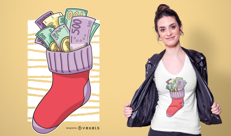 Money Christmas Sock T-shirt Design