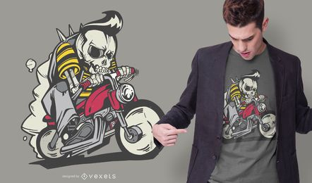Design de t-shirt fora da lei de esqueleto de bicicleta