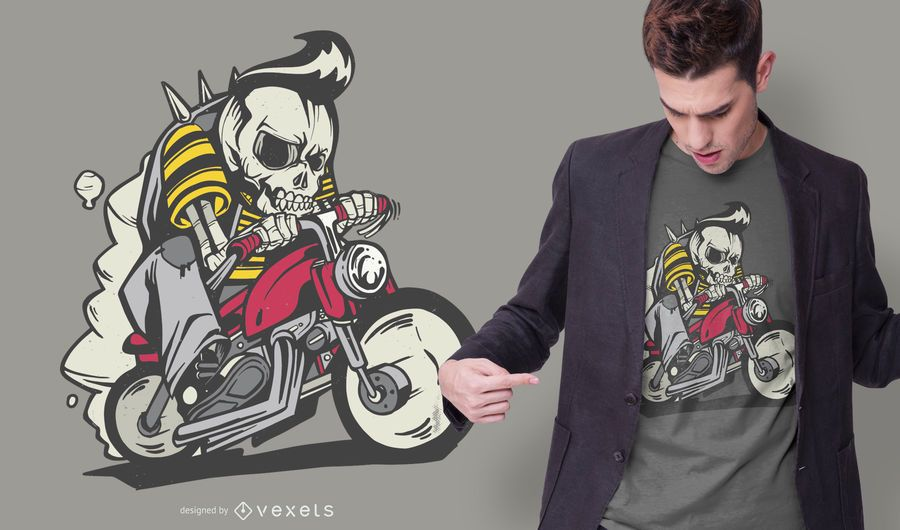 Outlaw Skeleton Bike Rider T-shirt Design
