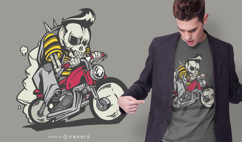 Diseño de camiseta Outlaw Skeleton Bike Rider