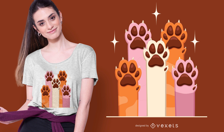 Diseño de camiseta de patas de perro.