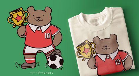Diseño de camiseta de oso de fútbol