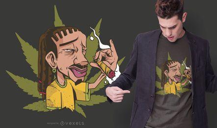 Diseño de camiseta de fumar Rastafari