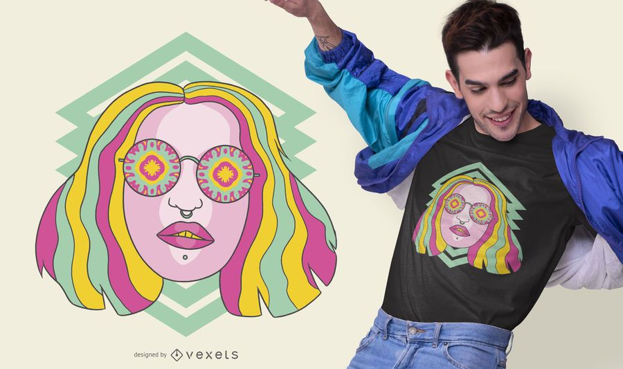 Kaleidoscope Girl Trippy T-shirt Design