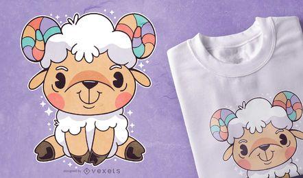 Diseño lindo de camiseta de aries