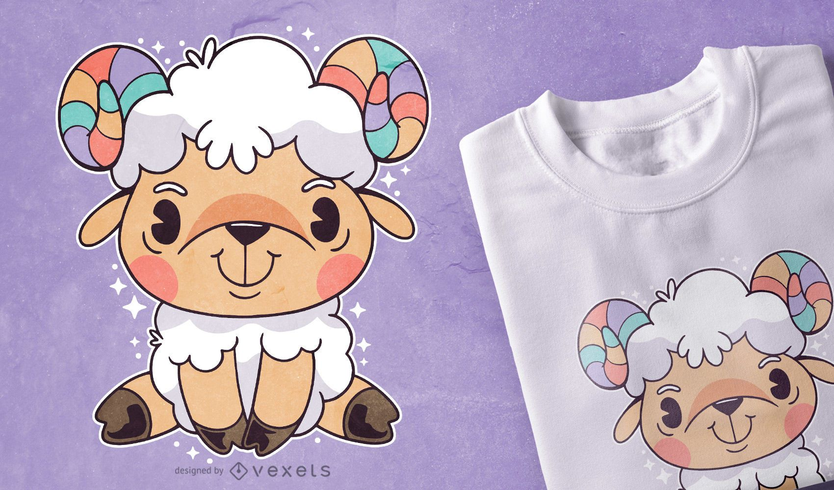 Design de camiseta aries fofa