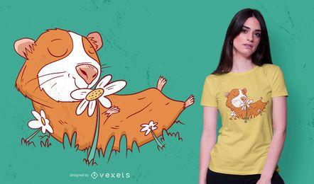 Diseño de camiseta de flor de conejillo de indias