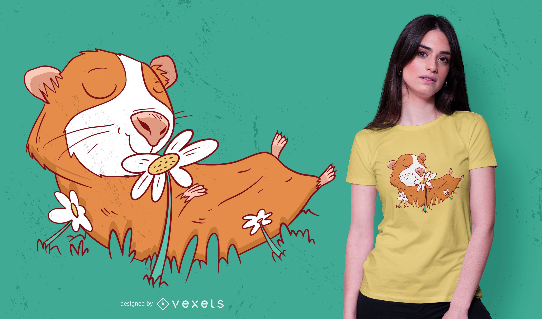 Guinea pig flower t-shirt design