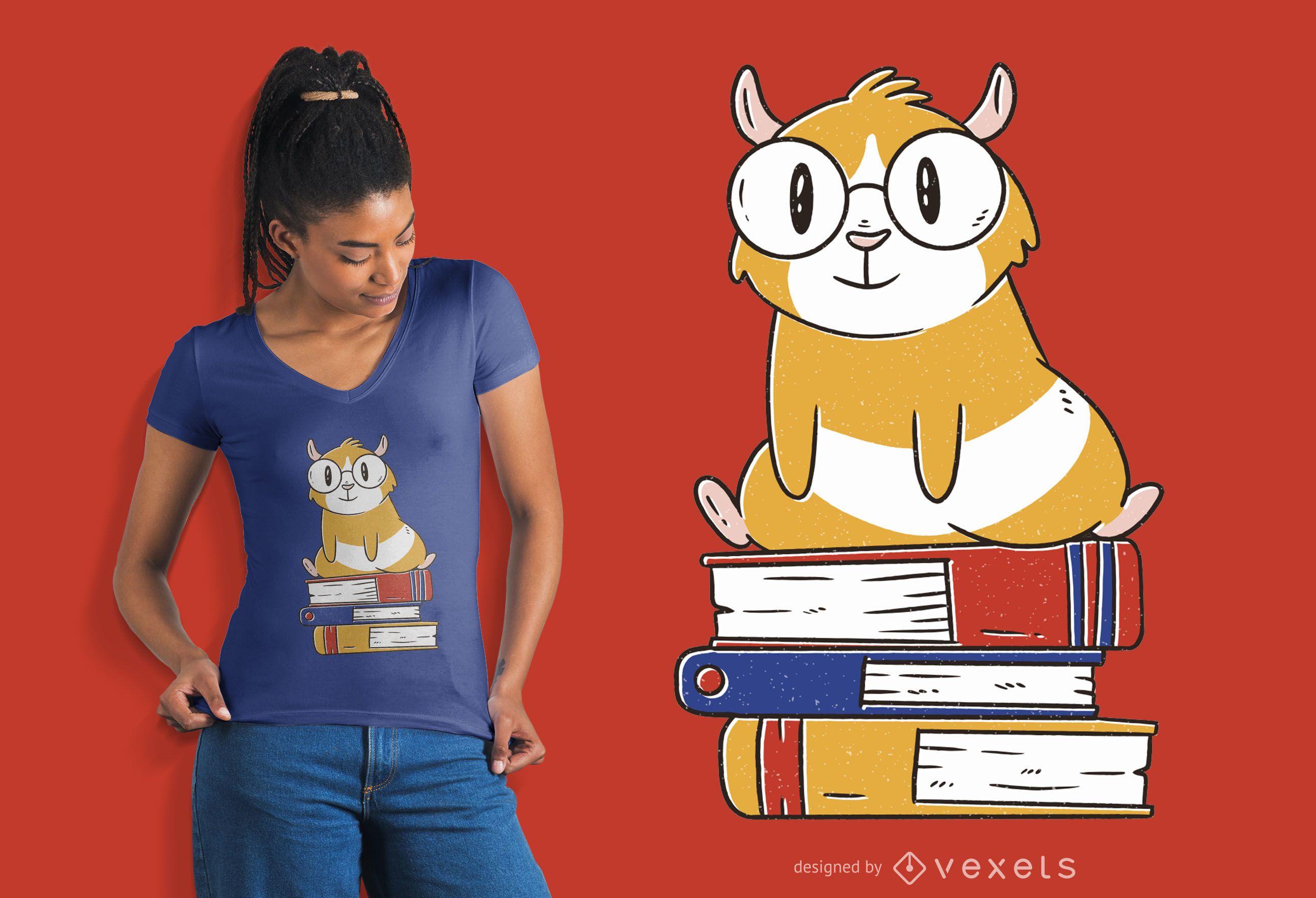 Diseño de camiseta de libros de conejillo de indias