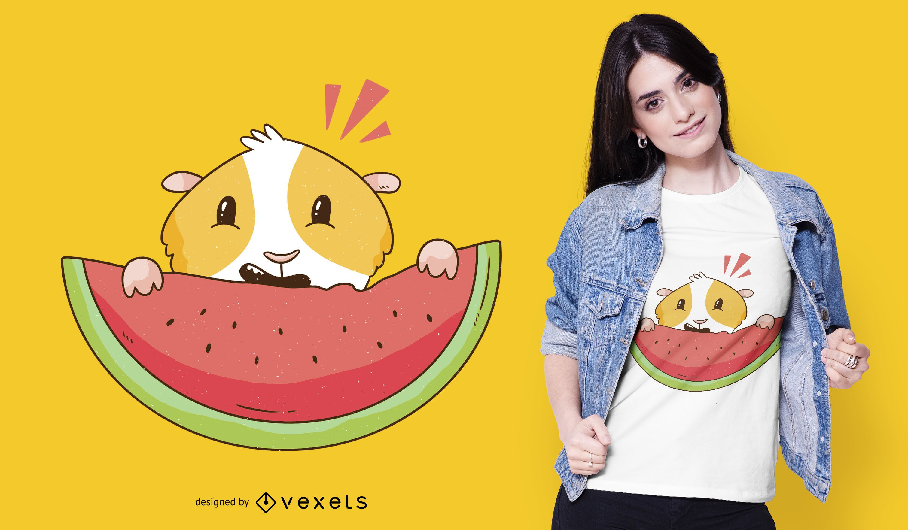 Meerschweinchen Wassermelone T-Shirt Design