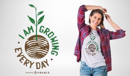 Design de t-shirt de citação crescente de planta