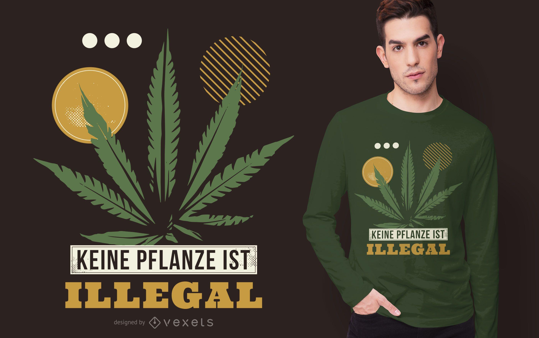 Diseño de camiseta de cita alemana de marihuana