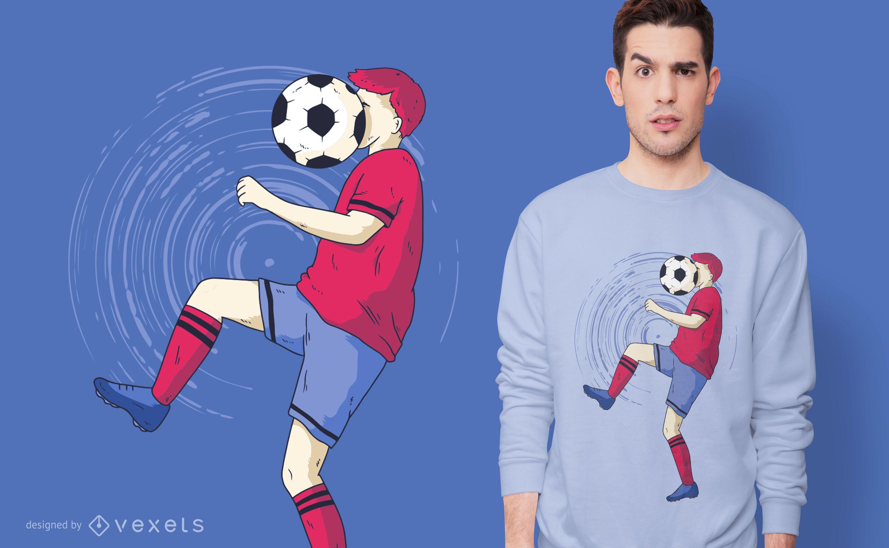 Design engraçado de camisetas de futebol