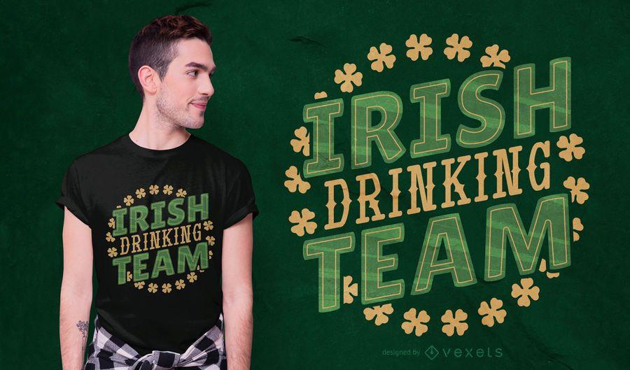 Diseño de camiseta del equipo de bebida irlandesa.
