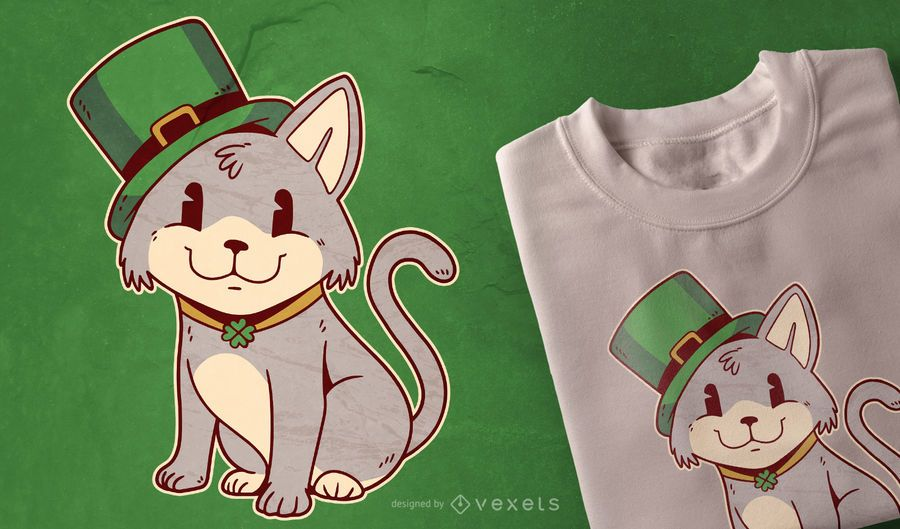 Diseño de camiseta de gato irlandés