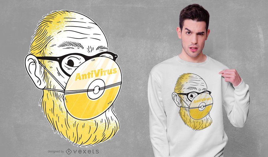 Design de t-shirt antivírus
