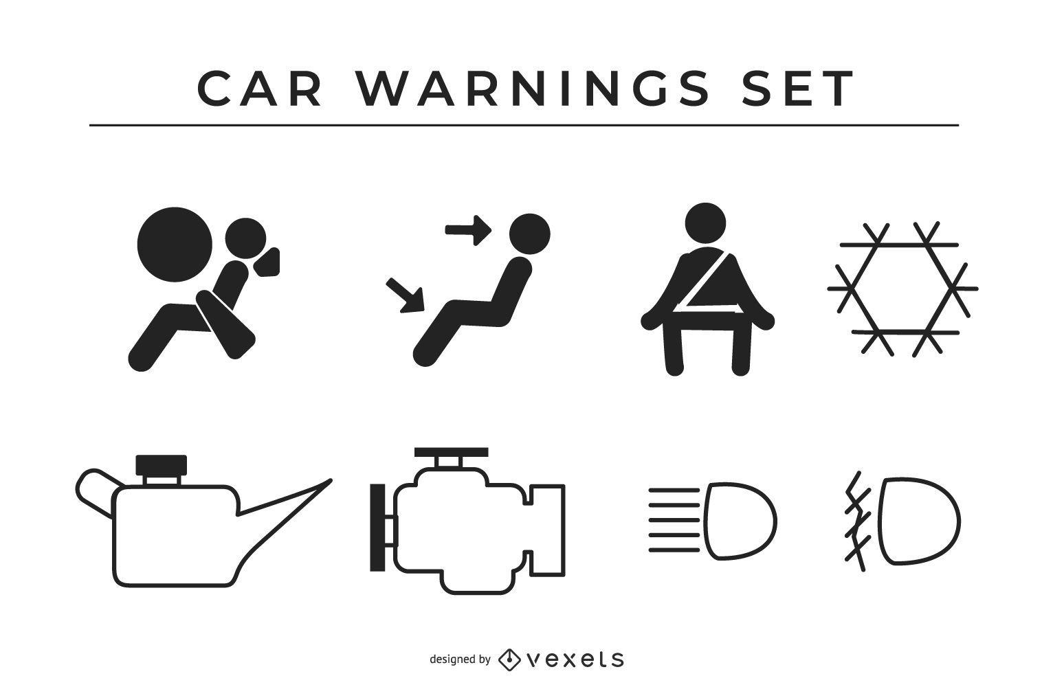 Conjunto de iconos de signo de advertencias de coche