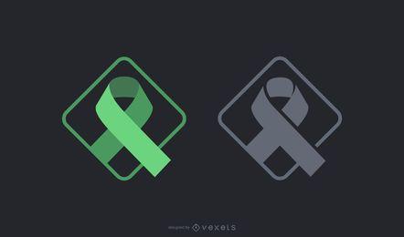 Conjunto de símbolo de fita preta verde