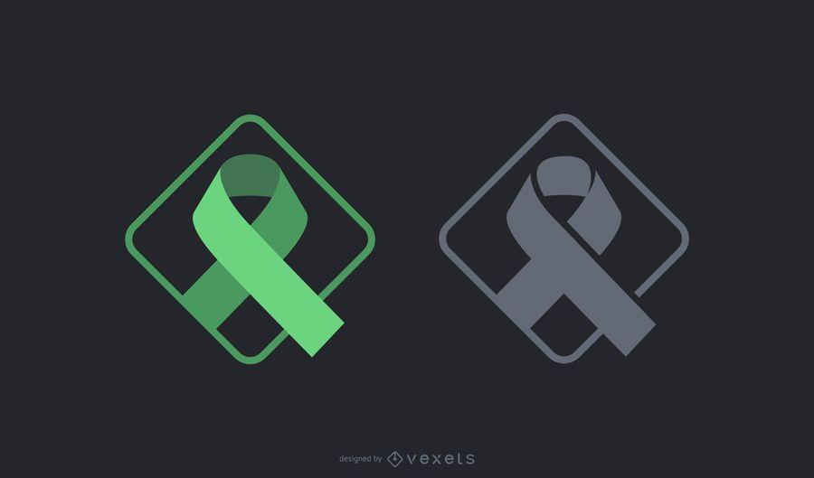 Green Black Ribbon Symbol Set