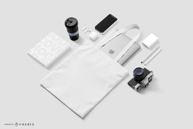 Maquete de elementos de estilo de vida de tecnologia isométrica