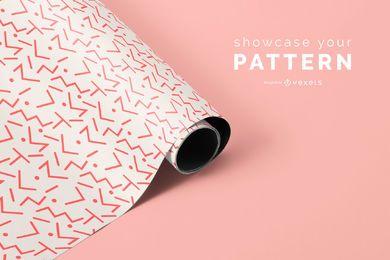 Maquete de padrão de rolo de tecido