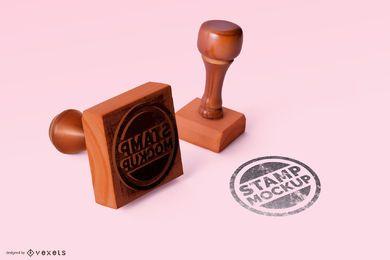 Maqueta de conjunto de sello de goma