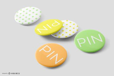 Pin Set Object Mockup Composition
