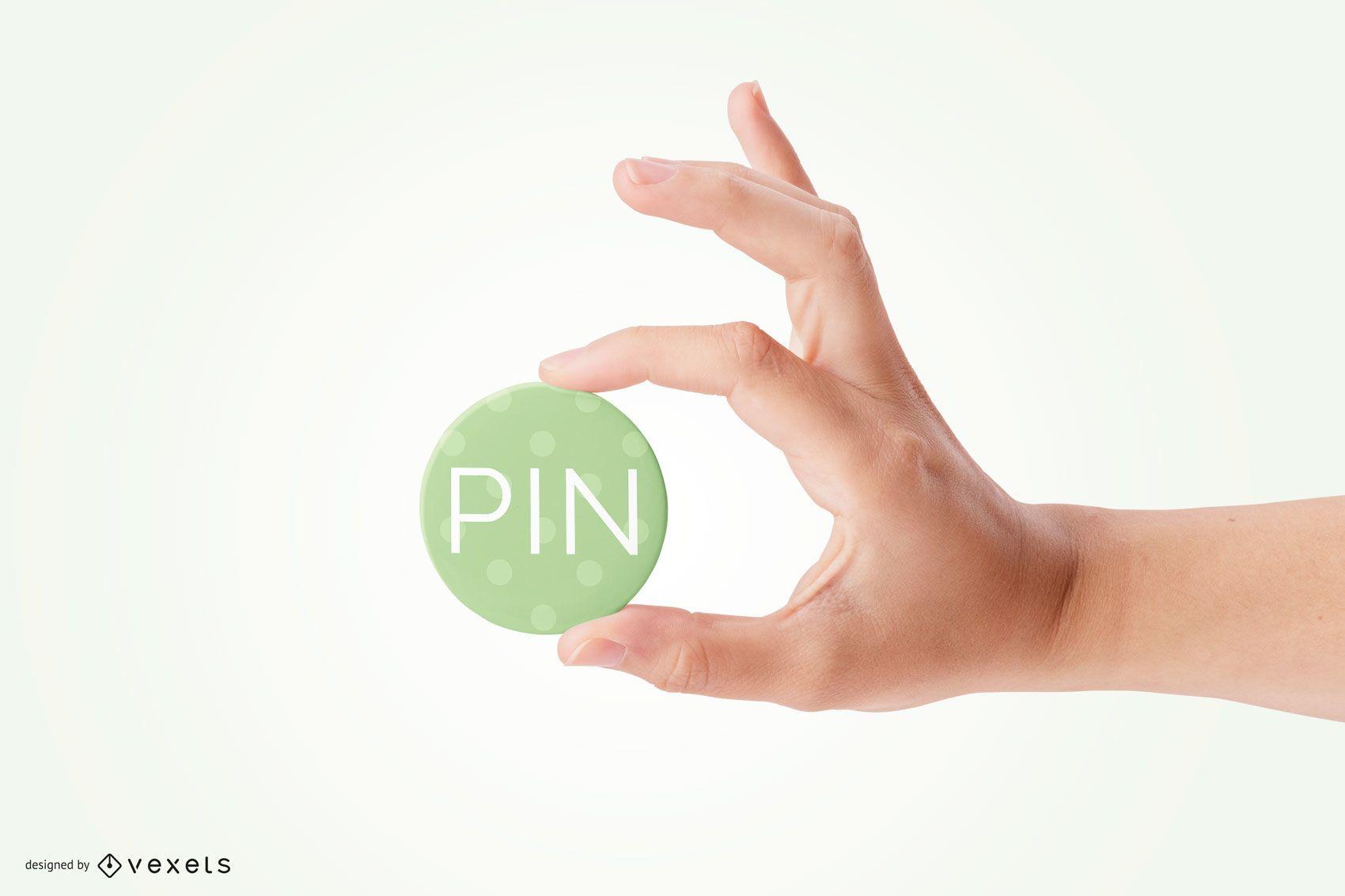 Hand Holding Pin Mockup