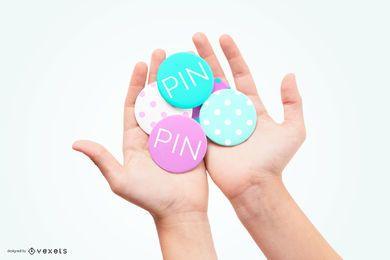 Mãos segurando pinos maquete de objetos