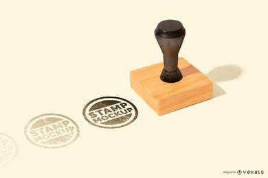 Maqueta de sello de goma cuadrada