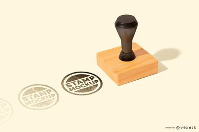 Square Rubber Stamp Mockup