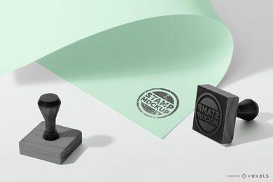 Maquete de logotipo de carimbo de borracha