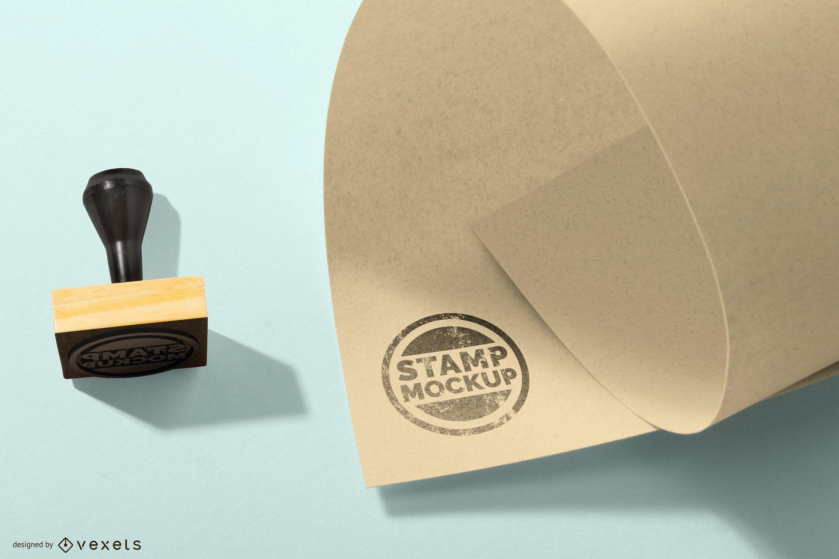 Rubber Stamp Round Logo Mockup