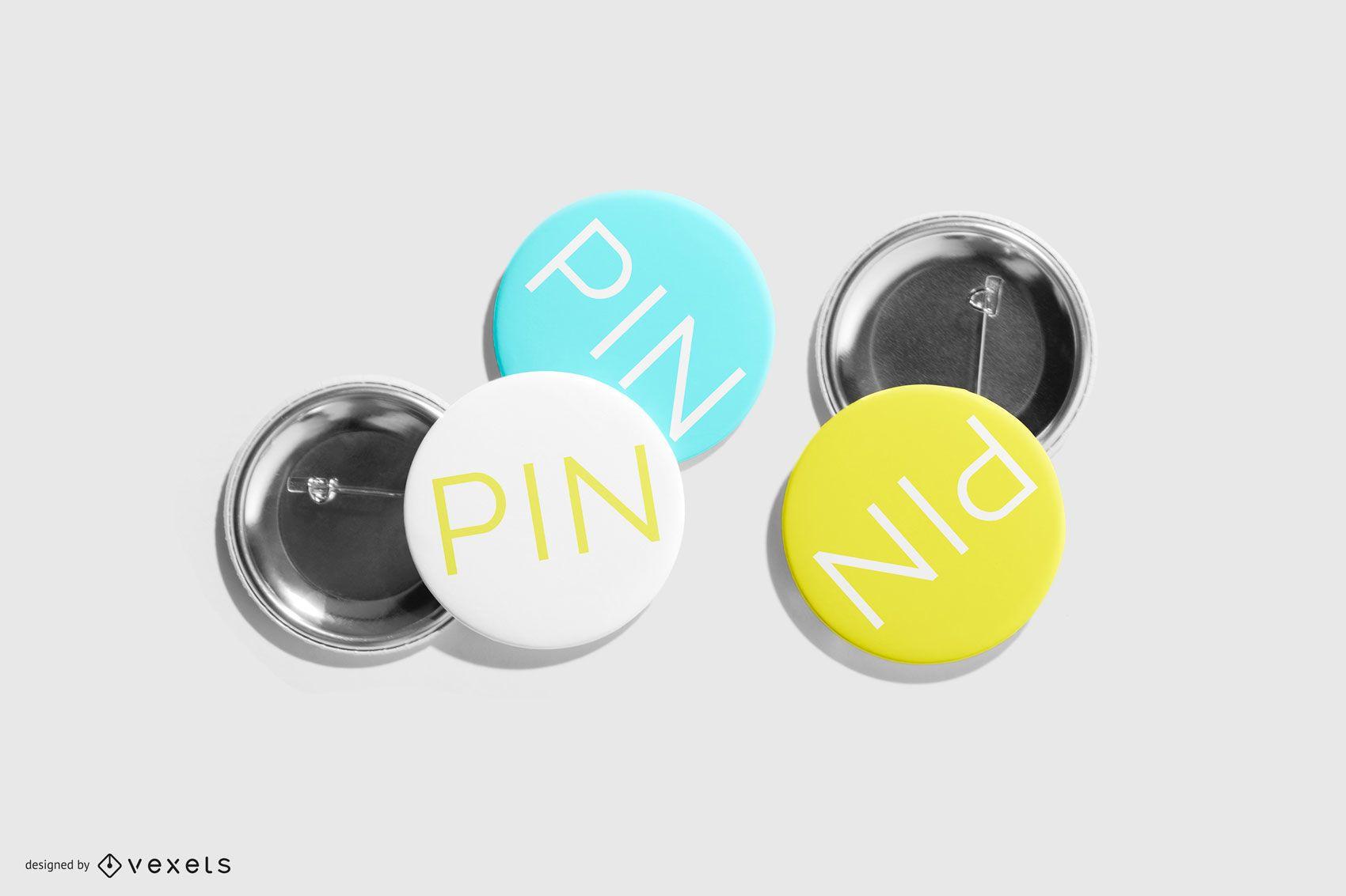 Metal Round Pin Pack Mockup