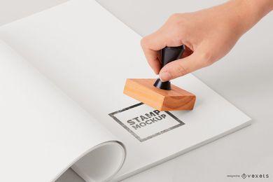 Maquete de papel de carimbo de mão