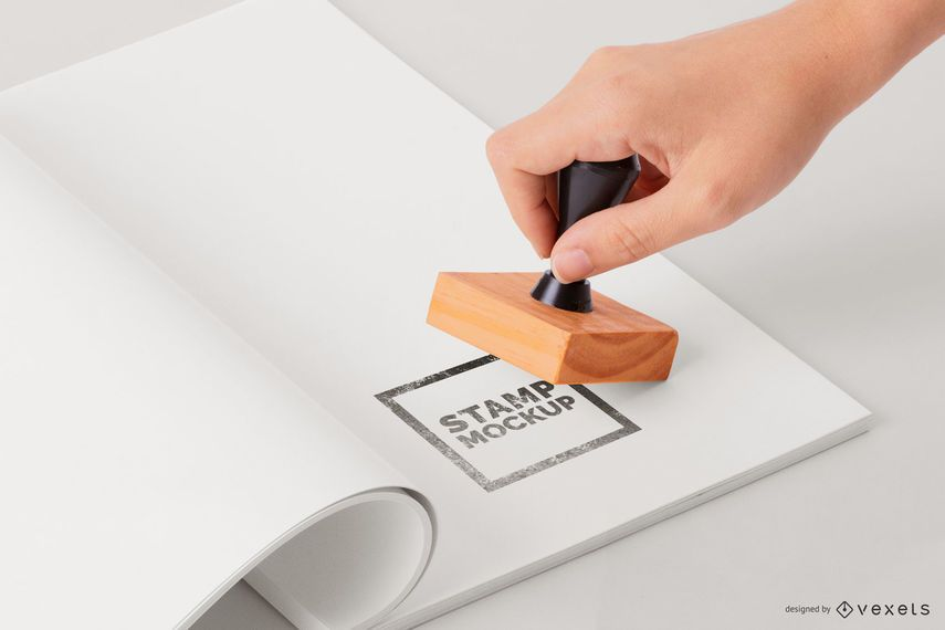 Hand Stamping Paper Mockup
