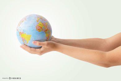 Mãos segurando um globo maquete
