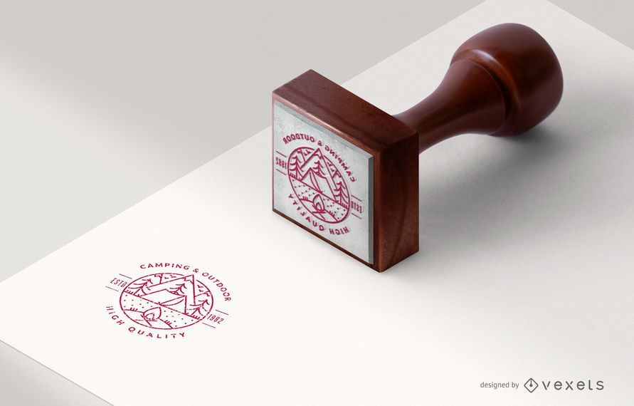 Isometric Rubber Stamp Object Mockup