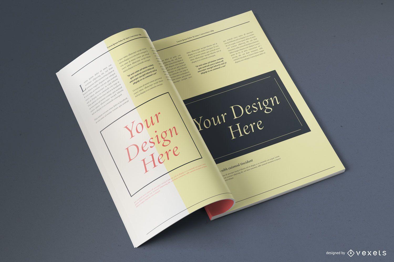 Open Magazine Mockup Design
