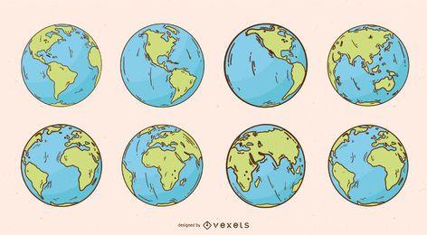 Pacote de ilustração do globo da terra do planeta