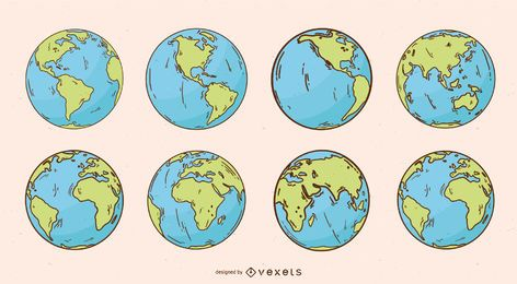 Pacote de ilustração do planeta Terra Globo